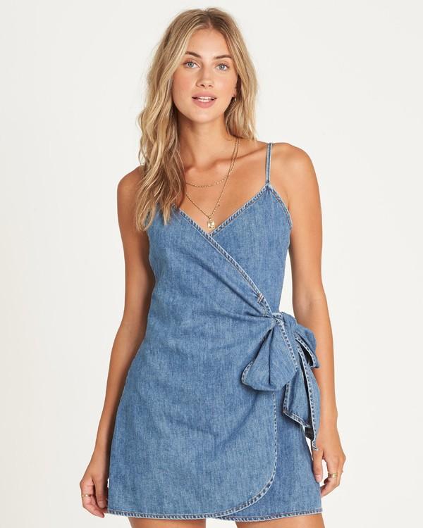 0 Island Wrap Denim Mini Dress Blue JD36UBIS Billabong