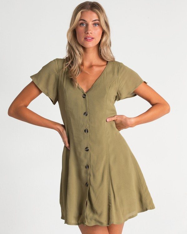 0 Sunlight Dreamin Mini Dress Green JD90TBSU Billabong