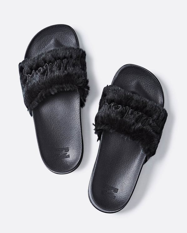 0 Whatevfur Slide Sandal Black JFOTQBWH Billabong