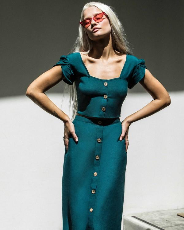 0 Swaying Leaves Midi Skirt Green JK06WBSW Billabong