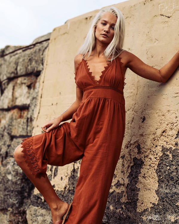 0 Lace And Lies Jumpsuit Brown JN05UBLA Billabong