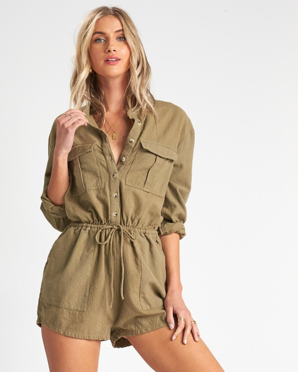0 Wake The Night Jumpsuit Green JN05VBWA Billabong