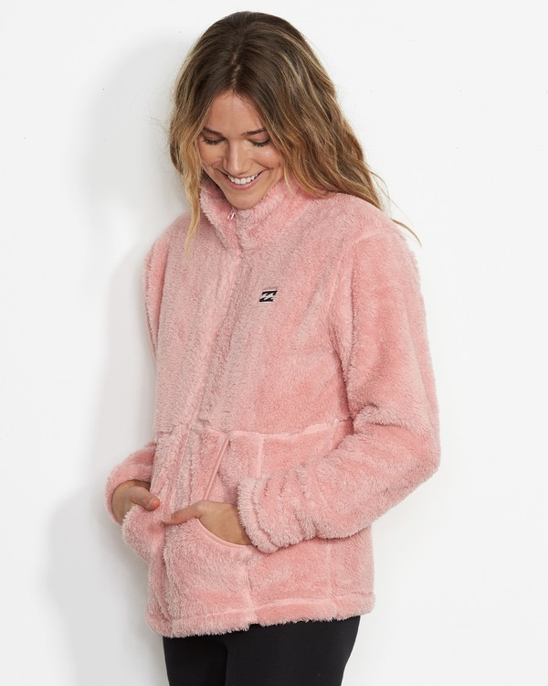 0 Women's First Chair Zip Up Sherpa Fleece Pink JSN6QFIR Billabong