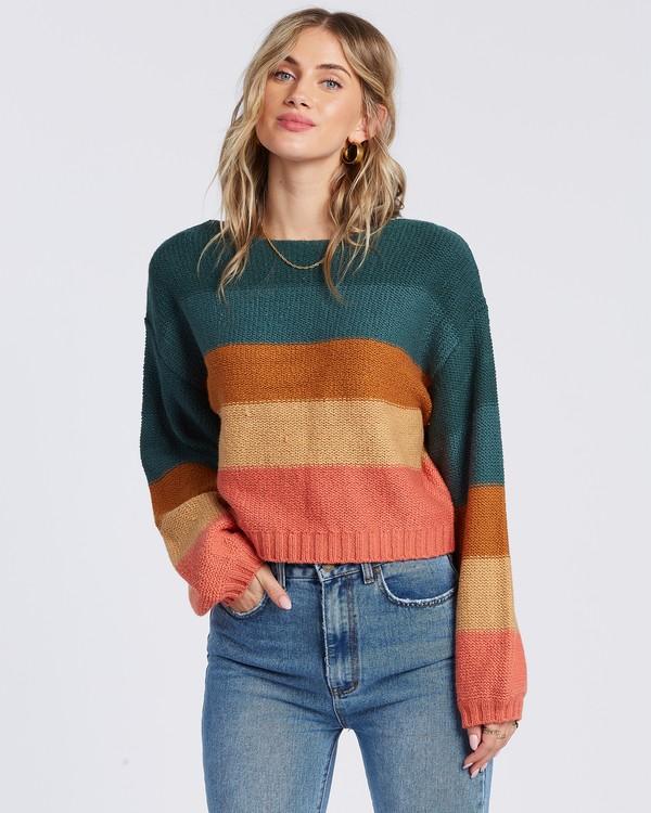 0 Seeing Stripes Sweater Green JV033BSE Billabong