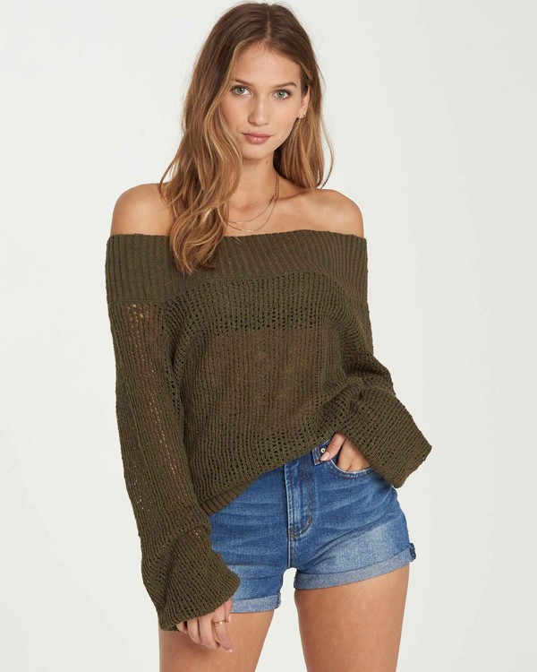 0 Rolled Up Off-The-Shoulder Sweater  JV12QBRO Billabong