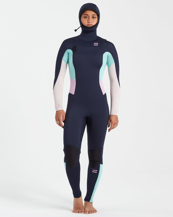0 5/4 Synergy Chest Zip Hooded Wetsuit Blue JWFU3BH5 Billabong