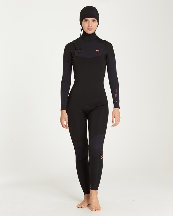 0 5/4 Furnace Carbon Hooded Chest Zip Fullsuit Black JWFUQBF5 Billabong