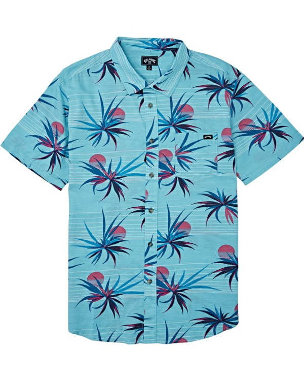 0 Boys' (2-7) Sundays Floral Short Sleeve Shirt Blue K5041BSF Billabong