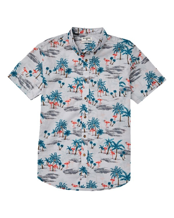 0 Boys' (2-7) Sundays Floral Short Sleeve Shirt Grey K504TBSF Billabong