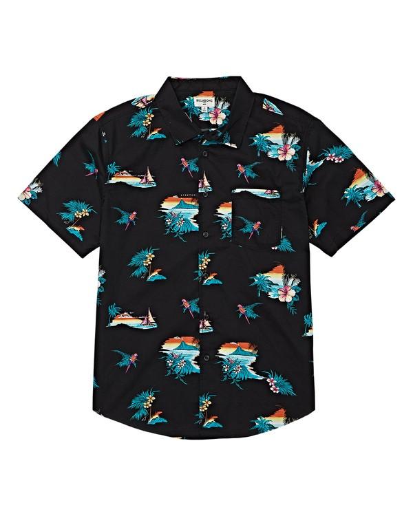 0 Boys' (2-7) Sundays Floral Short Sleeve Shirt Black K504VBSF Billabong