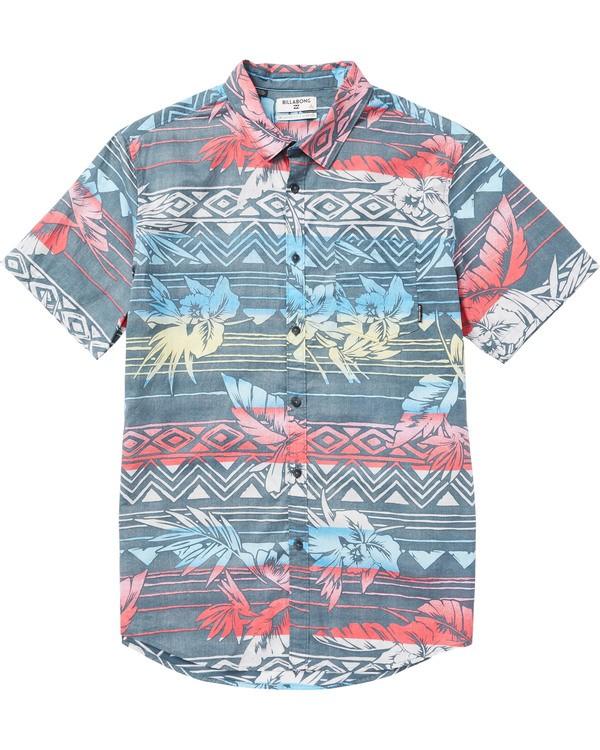0 Kids' Sundays Floral Printed Short Sleeve Shirt  K506SBSF Billabong