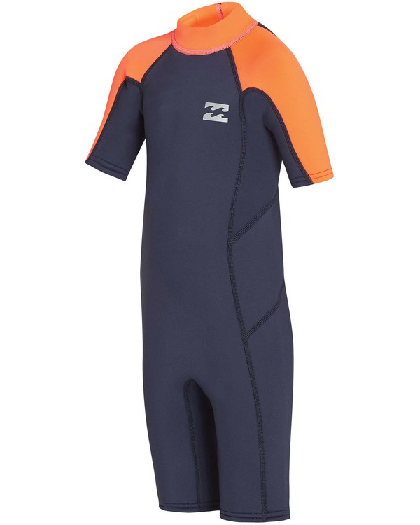 0 Boys' (2-7) 2mm Absolute Back Zip Flatlock Short Sleeve Springsuit Red KWSPTBF2 Billabong