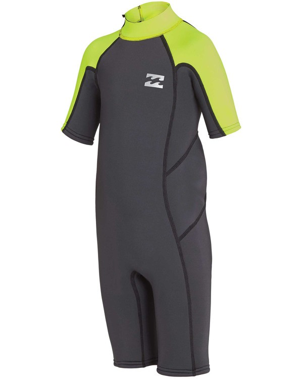 0 Boys' (2-7) 2mm Absolute Back Zip Flatlock Short Sleeve Springsuit Yellow KWSPTBF2 Billabong