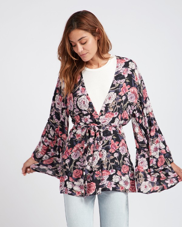 0 All Flored Kimono Top Noir L3TP07BIF8 Billabong