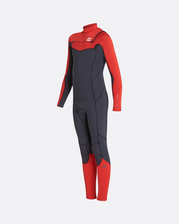 0 3/2 Boys Furnace Absolute Chest Zip Fullsuit Wetsuit Rouge L43B05BIF8 Billabong