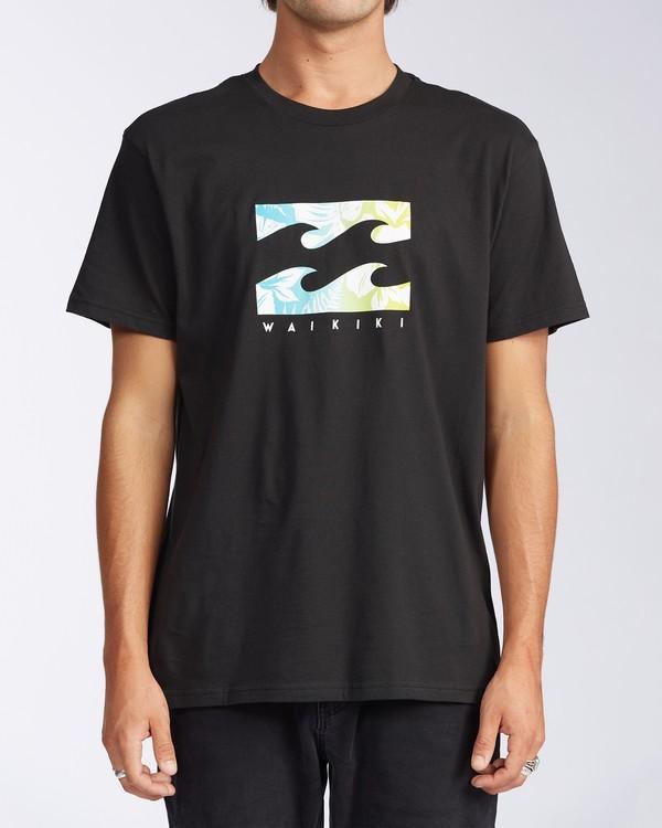 0 Waikiki Floral Short Sleeve T-Shirt Black M404JWWR Billabong
