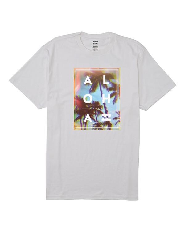 0 Aloha Palm Hawaii Short Sleeve T-Shirt White M404VBAH Billabong