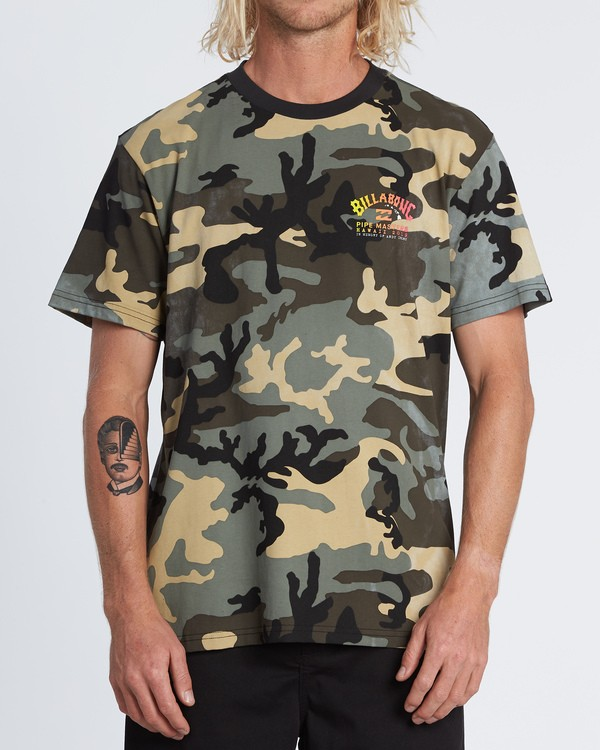 0 Pipe Camo Short Sleeve T-Shirt Black M404WBPC Billabong