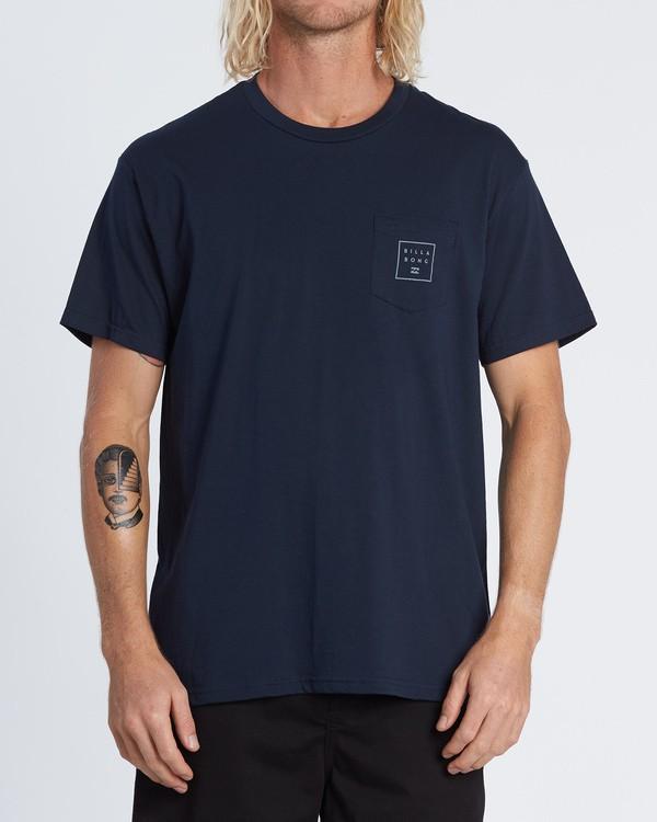 0 Stacked Essential Pocket Short Sleeve T-Shirt Blue M431WBSE Billabong