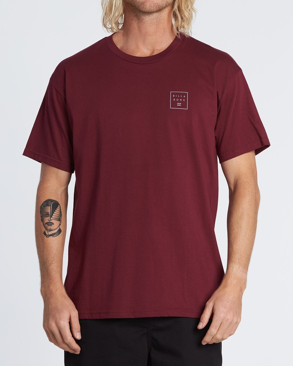 0 Stacked Essential Short Sleeve T-Shirt Red M460WBSE Billabong