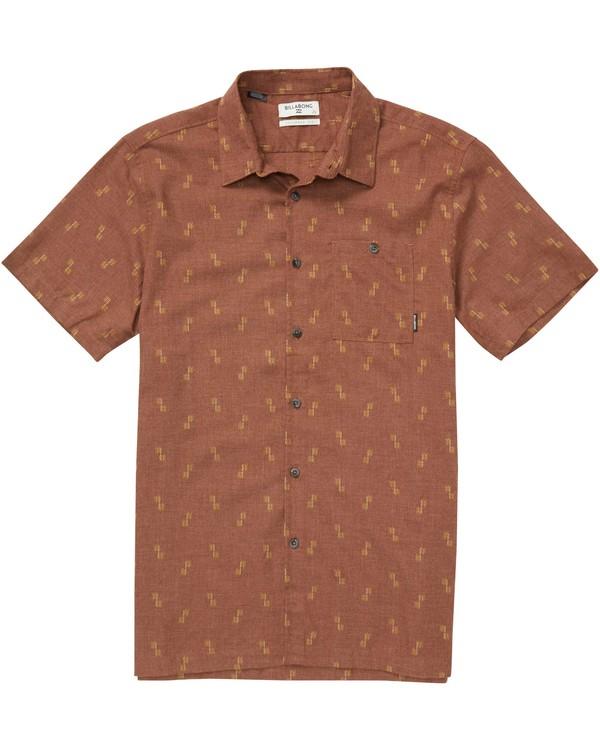 0 Sundays Jacquard Short Sleeve Shirt Brown M503QBSJ Billabong