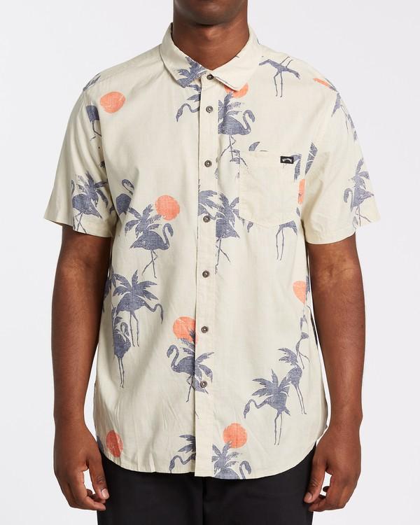 0 Sundays Floral Short Sleeve Shirt Beige M5041BSF Billabong