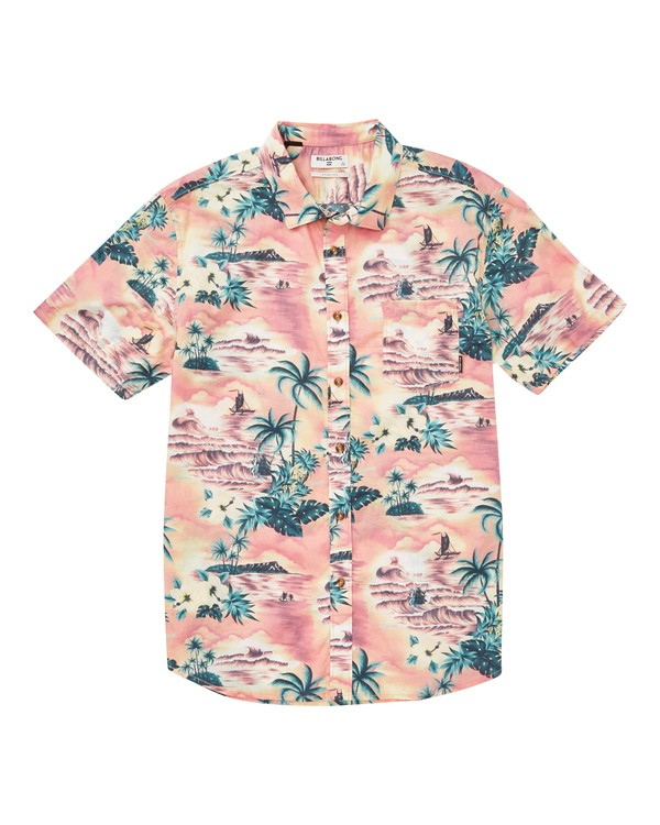 0 Sundays Floral Short Sleeve Shirt Pink M504TBSF Billabong