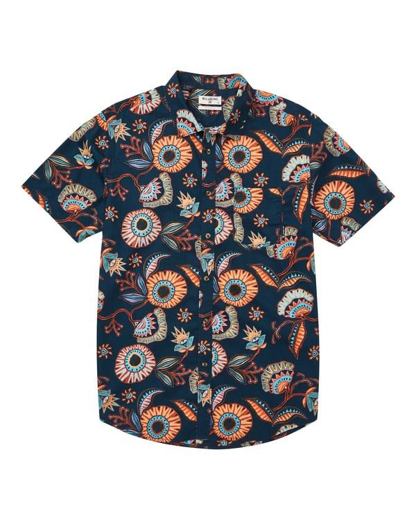 0 Sundays Floral Short Sleeve Shirt Blue M504TBSF Billabong