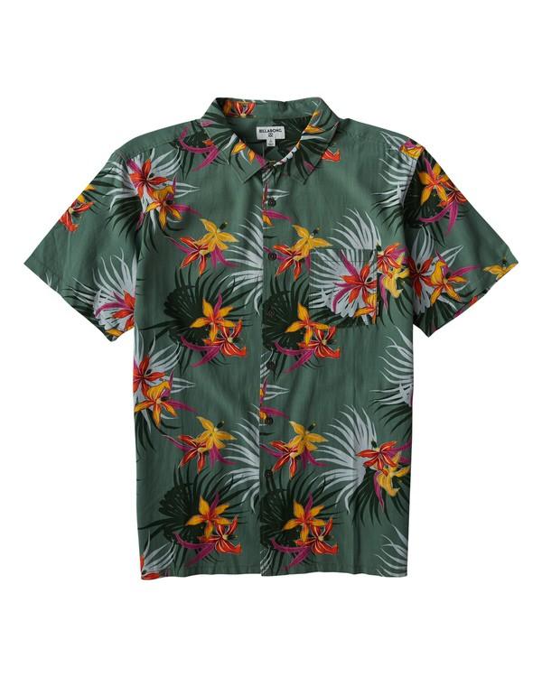 0 Sundays Floral Short Sleeve Shirt Green M504VBSF Billabong