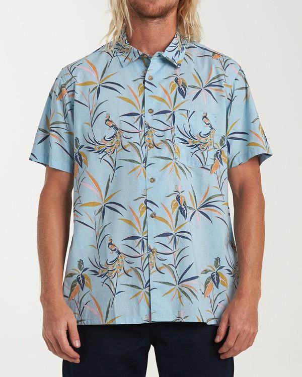 0 Sundays Floral Short Sleeve Shirt Blue M504VBSF Billabong