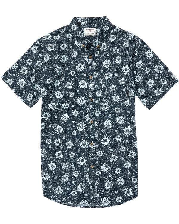 0 Sundays Mini Printed Short Sleeve Shirt Blue M505SBSM Billabong