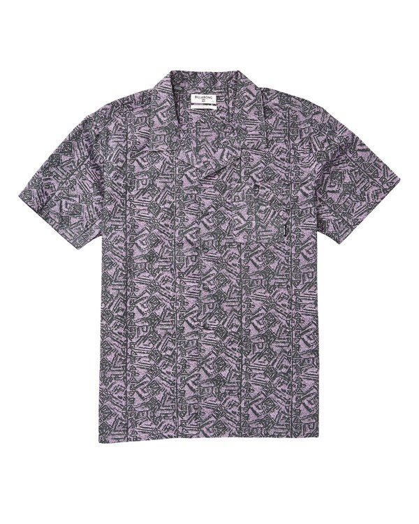 0 Vacay Print Short Sleeve Shirt Purple M505TBVP Billabong