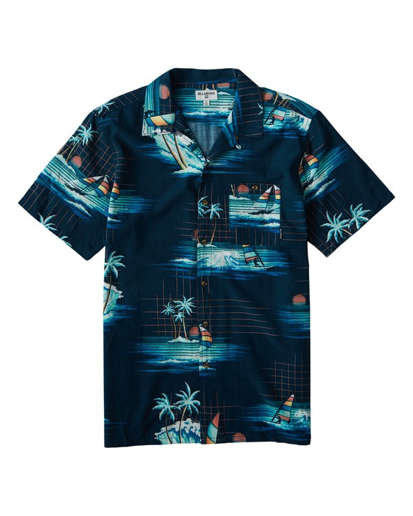 0 Vacay Print Short Sleeve Shirt Blue M505VBVP Billabong