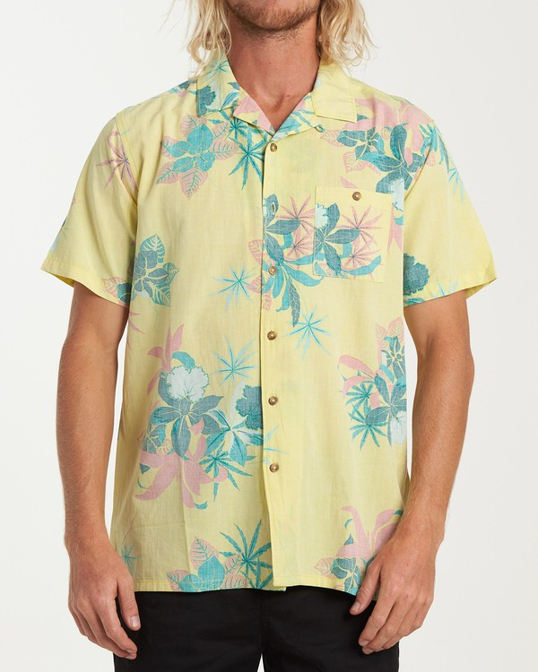 0 Vacay Print Short Sleeve Shirt Yellow M505VBVP Billabong