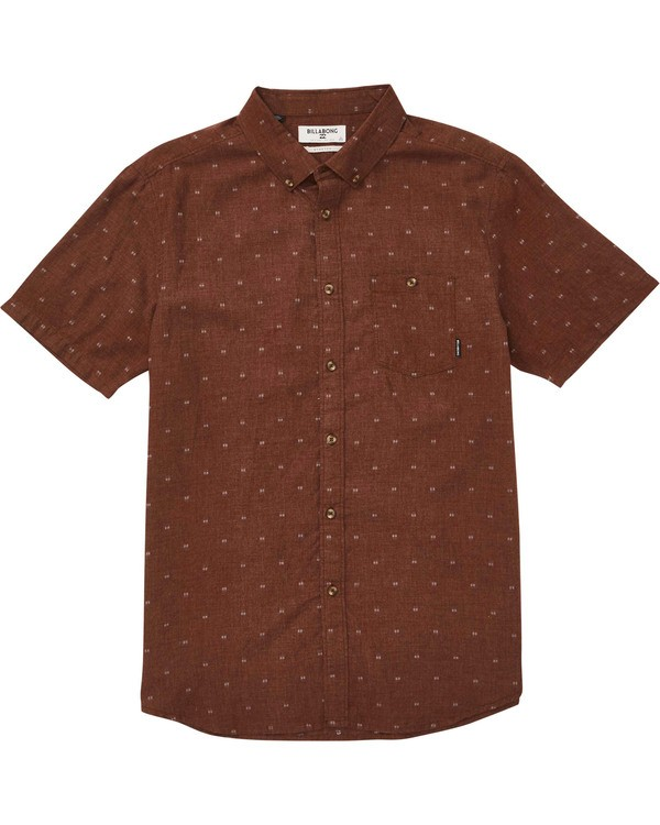 0 All Day Jacquard Short Sleeve Shirt Orange M507PBSJ Billabong