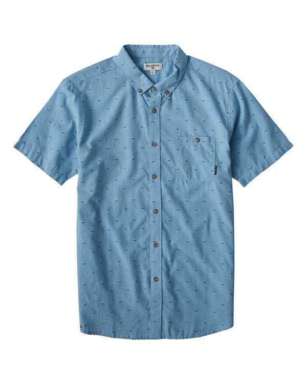 0 All Day Jacquard Short Sleeve Shirt Blue M507VBSJ Billabong