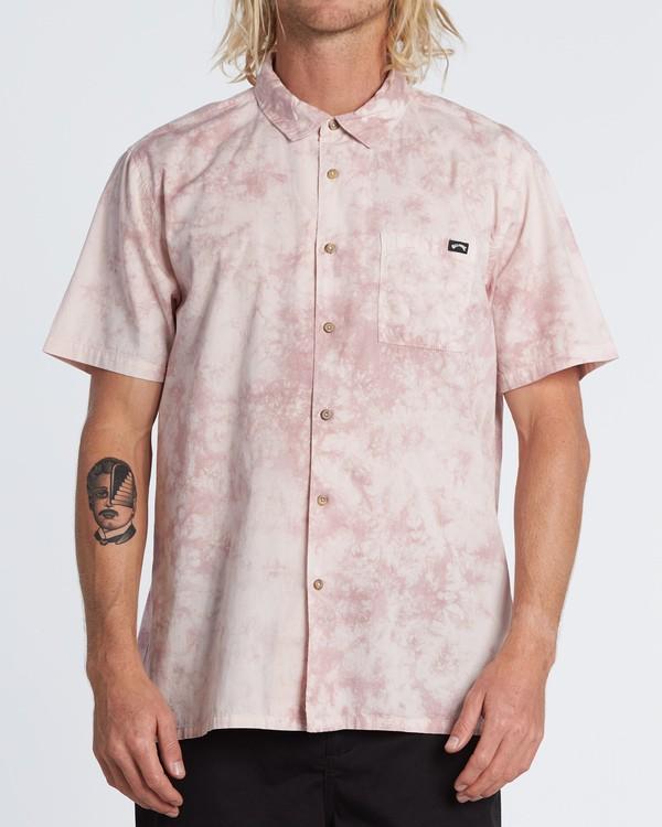 0 Sundays Tie Dye Short Sleeve Shirt Pink M5081BTD Billabong