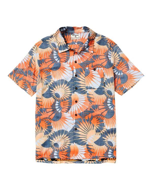 0 Sundays Vacay Printed Short Sleeve Shirt Orange M508SBSV Billabong