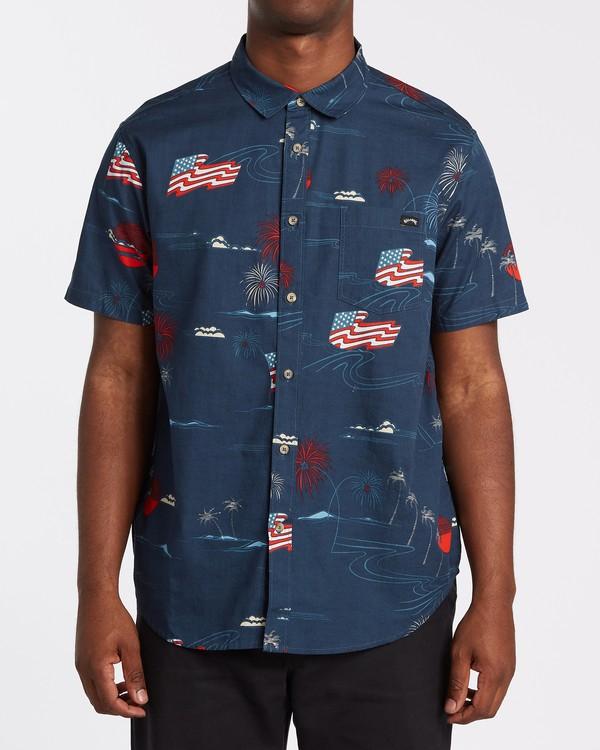0 Sundays July Short Sleeve Shirt Blue M5152BSJ Billabong