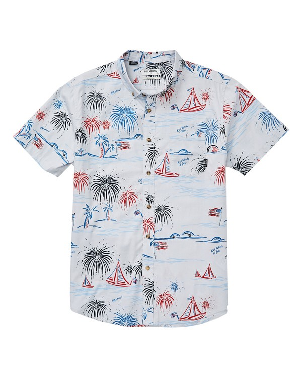 0 Sundays July Short Sleeve Shirt Grey M515UBSJ Billabong