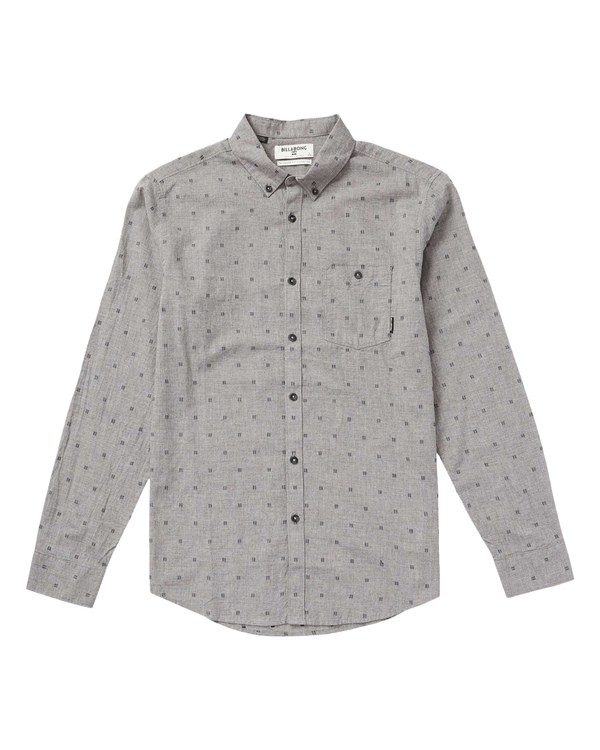 0 All Day Jacquard Long Sleeve Shirt Grey M522QBAJ Billabong