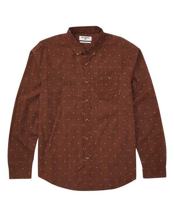 0 All Day Jacquard Long Sleeve Shirt Red M522QBAJ Billabong