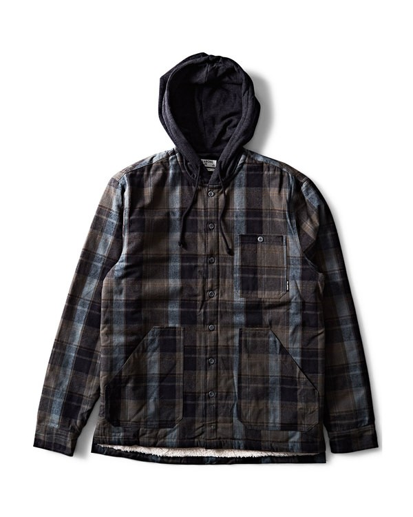 0 Baja Sherpa Hooded Flannel Shirt Black M525SBBA Billabong