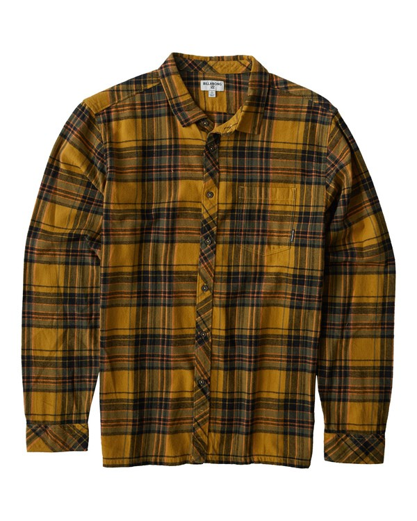 0 Coastline Long Sleeve Flannel Shirt Yellow M532VBCO Billabong