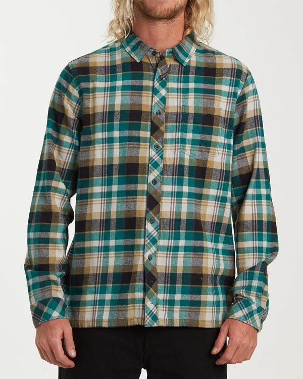 0 Coastline Long Sleeve Flannel Shirt Green M532VBCO Billabong