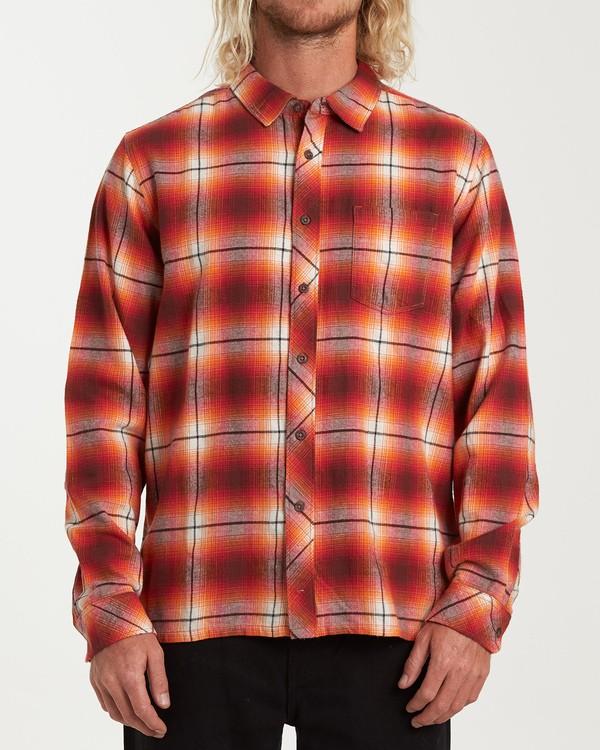 0 Coastline Long Sleeve Flannel Shirt Red M532VBCO Billabong