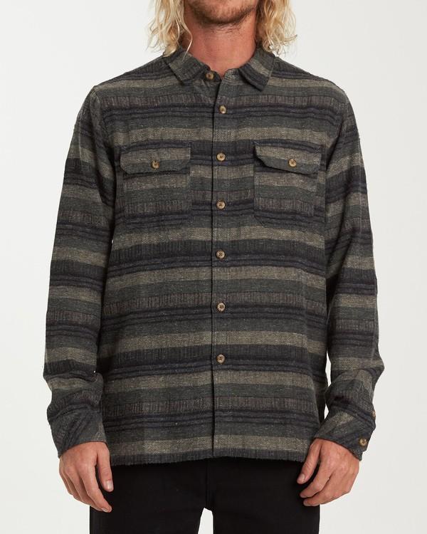0 Offshore Long Sleeve Flannel Shirt Green M535VBSB Billabong