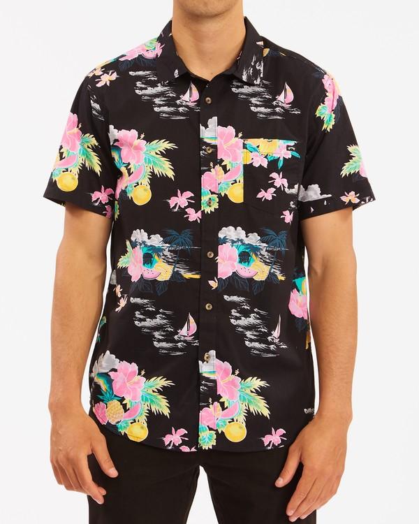 0 Sundays Floral Hawaii Short Sleeve Shirt Black M5483BSD Billabong