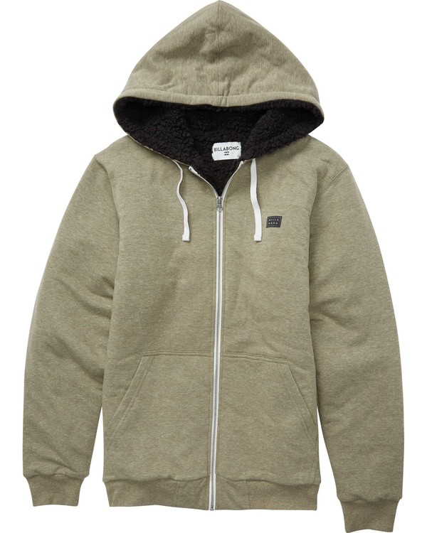 0 All Day Sherpa Zip Hoodie Green M660QBAS Billabong