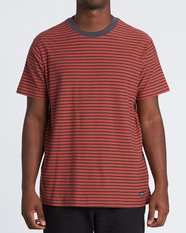 0 Delta Crew Striped T-Shirt Red M9041BDE Billabong